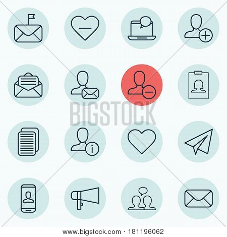 Set Of 16 Social Network Icons. Includes Bullhorn, Mail Notification, Badge And Other Symbols. Beautiful Design Elements.