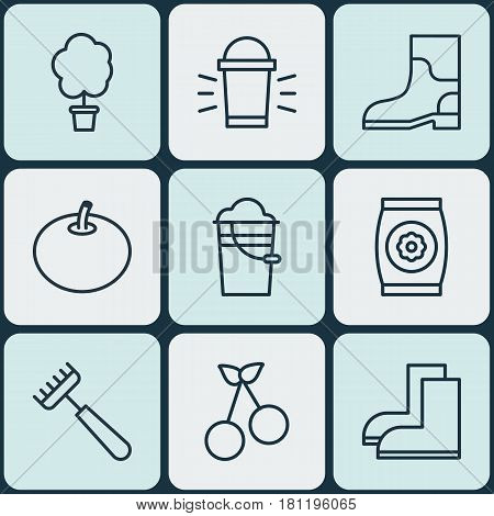 Set Of 9 Plant Icons. Includes Rake, Gardening Shoes, Fertilizer And Other Symbols. Beautiful Design Elements.