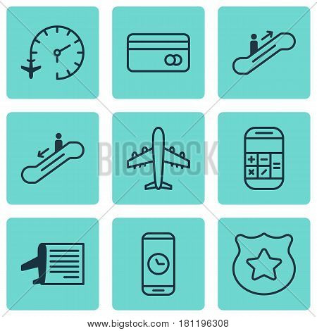 Set Of 9 Traveling Icons. Includes Timetable, Escalator Down, Moving Staircase And Other Symbols. Beautiful Design Elements.