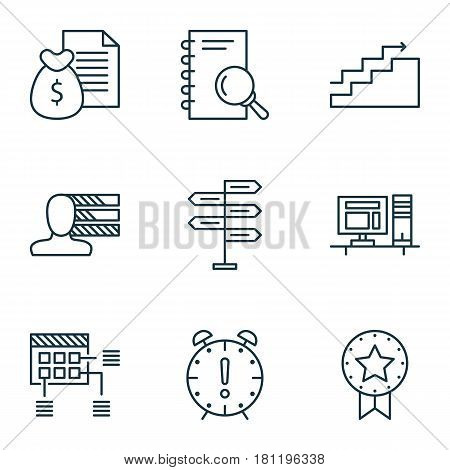 Set Of 9 Project Management Icons. Includes Growth, Present Badge, Analysis And Other Symbols. Beautiful Design Elements.