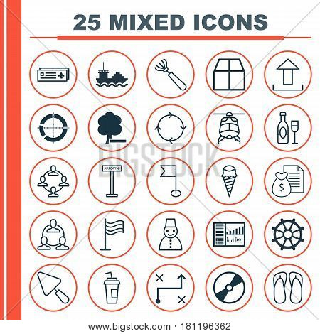 Set Of 25 Universal Editable Icons. Can Be Used For Web, Mobile And App Design. Includes Elements Such As Cd-Rom, Slipper, Airplane Information And More.