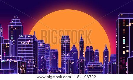 Retro Futuristic Skyscraper City 1980S Style 3D Illustration.