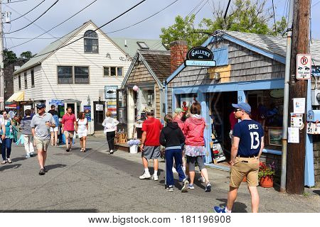 ROCKPORT, MA, USA - JUL 25, 2015: Historic Gallery on Bearskin Neck in downtown Rockport, Massachusetts, USA.