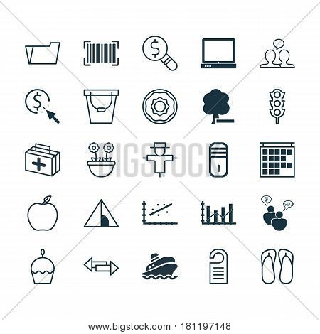 Set Of 25 Universal Editable Icons. Can Be Used For Web, Mobile And App Design. Includes Elements Such As Slipper, Document Case, Stoplight And More.