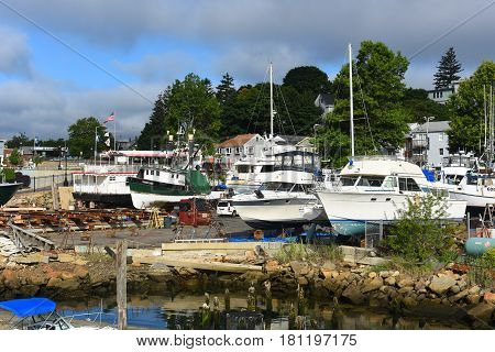 GLOUCESTER, MA - JUL 25, 2015: Fishing Boat at port of Gloucester city, Gloucester, Massachusetts, USA.