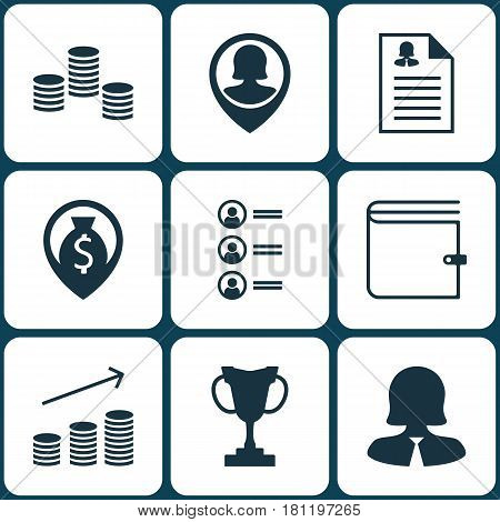 Set Of 9 Human Resources Icons. Includes Business Woman, Pin Employee, Money And Other Symbols. Beautiful Design Elements.