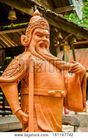 Earthenware of Chinese ancient soldier for decoration in garden or landscape architecture