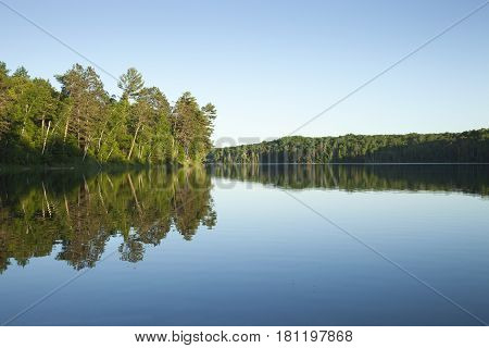 A calm northern Minnesota lake with pine trees at sunset on a clear day