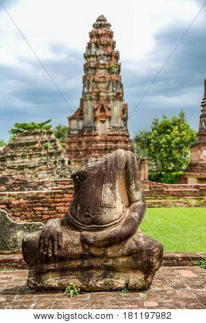 Broken Buddha image in King Narai the king during Ayuthaya era Palace the travel destination in Lopburi Thailand