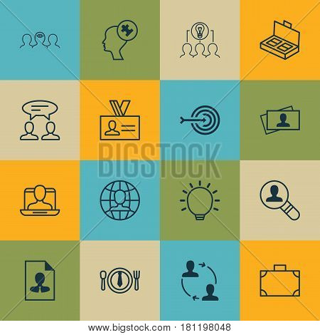 Set Of 16 Business Management Icons. Includes Cooperation, Great Glimpse, Open Vacancy And Other Symbols. Beautiful Design Elements.
