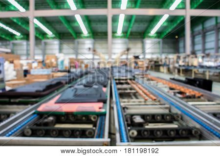 The conveyor chain and conveyor belt is on production line.
