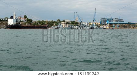 Sevastopol, Russia - June 09, 2016: Parking of the Black Sea Fleet in Sevastopol Bay