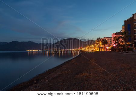 Marmaris beach at night to the icmeler side