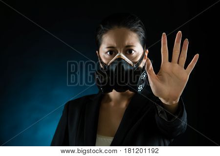Woman In Protective Mask With Reject Gesture Hand.