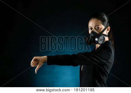Mixed Race Woman Showing Thumbs Down Hand