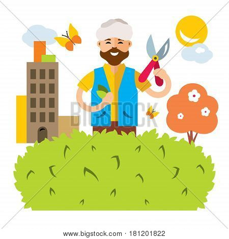 Man cuts a bush in the garden. Isolated on a white background