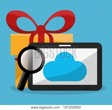 tablet with giftbox and magnifying glass icons image vector illustration design