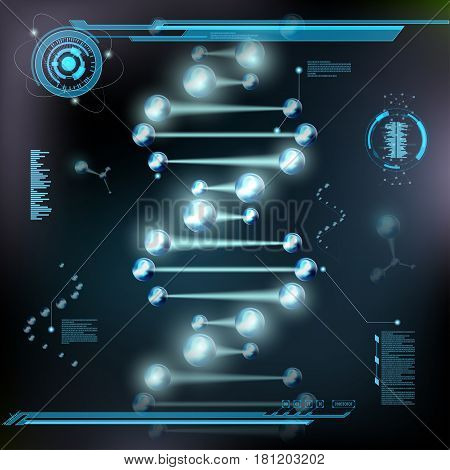 Spiral DNA molecules and atoms under microscope. HUD interface. Scientific research background. Stock vector illustration.