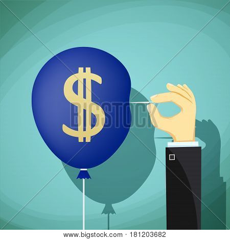 Hand with needle pierces the balloon. Dollar currency symbol. Stock vector illustration.