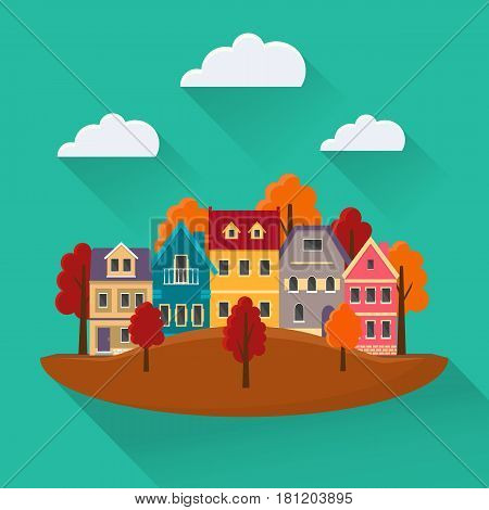 Flat autumn cityscape. Urban landscape in the fall city with small cute houses and mountains. EPS10 vector illustration.