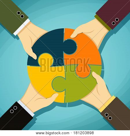 Human hands holding pieces of a puzzle. Stock vector illustration.