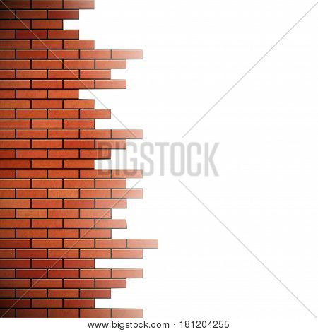 Destroyed brick wall. Isolated on white background. Stock vector illustration.