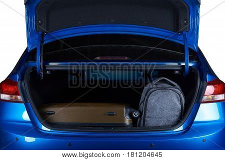 Bags In Open Modern Car Trunk