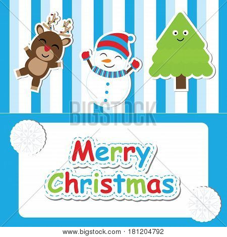 Cute deer, snowman and Xmas tree vector cartoon on blue stripesd background for Xmas postcard, wallpaper, and greeting card, vector illustration