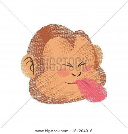 tongue out monkey cartoon icon image vector illustration design
