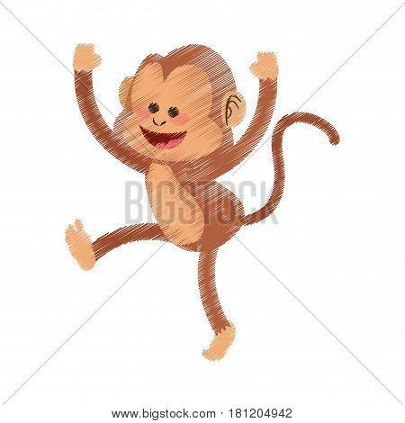 happy playful monkey cartoon icon image vector illustration design