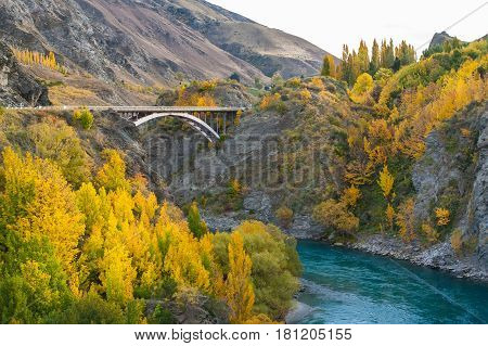 The Kawarau Gorge Suspension Bridge for Bungy Jumping into Kawarau river QueenstownNew zealand