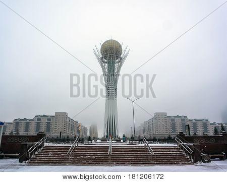 Astana, The Capital Of Kazakhstan. This City Will Be The Site Of Expo 2017. Photo Taken In A Cold Wi