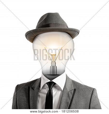 Man with a light bulb as head. Ingenious head concept