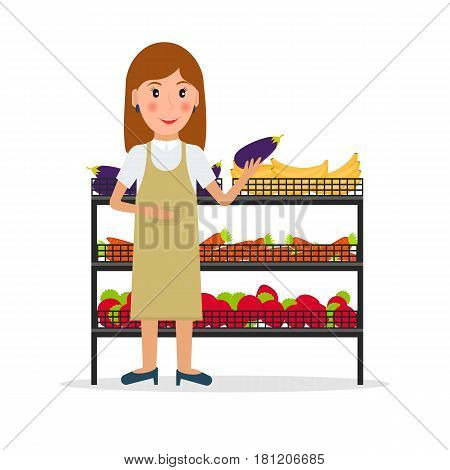 Grocery store female salesperson against vitrine with vegetables and fruit in flat style. Smiling gesturing woman greengrocery seller against vitrine with food.