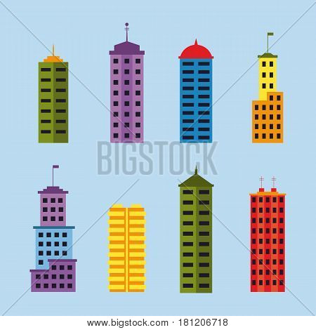 Skyscrapers collection. Set of tall modern buildings for city creation. EPS10 vector illustration in flat style.