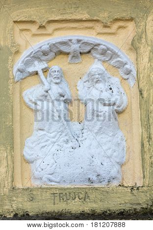 GOLKOWICE POLAND - DECEMBER 11 2015: Old Wayside shrine by an unknown artist in Golkowice near Cracow. Poland