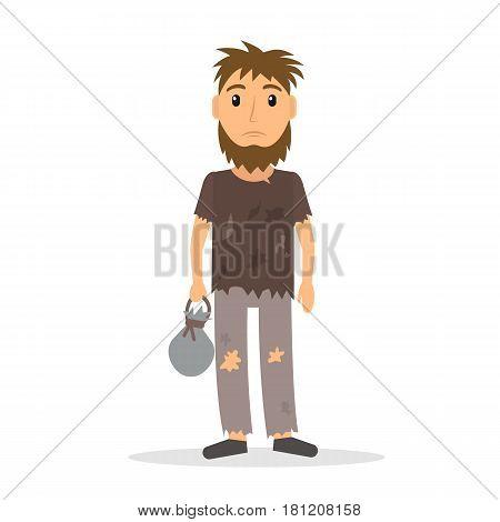 Homeless man. Beggar in rags. EPS10 vector illustration in flat style.