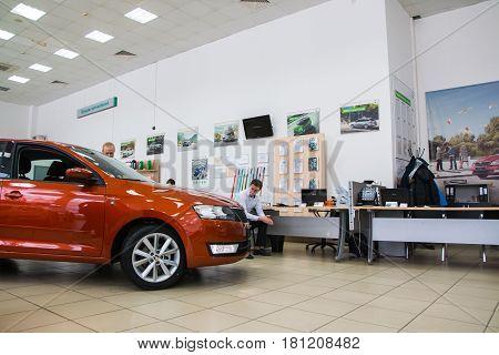 Showroom And Car Of Dealership Skoda In Kirov City In 2016