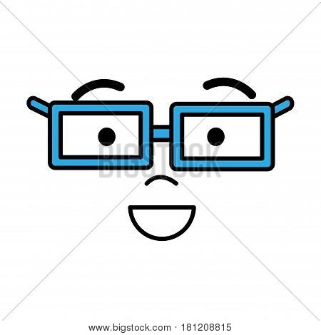 man face with eyes, mouth, nose and glases, vector illustration