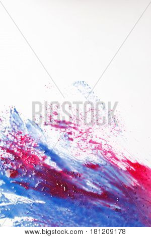 Creative abstractionism, modern abstract art, colorful painting. Smudged red and blue colors on white background, bloody water. Creativity, inspiration.