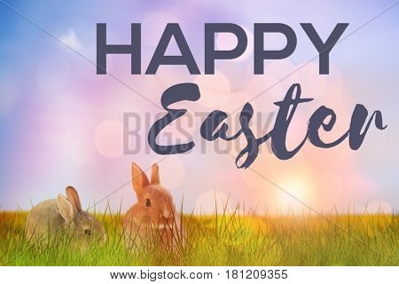 Easter greeting against flock of bird flying over field