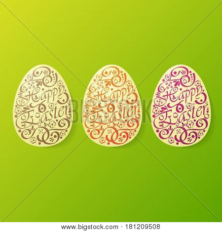 Big Easter egg silhouettes set with text and pattern