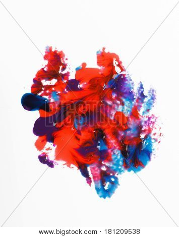 Modern creative art, abstract painting. Mix of bright blue and red colors on white background. Abstractionism.