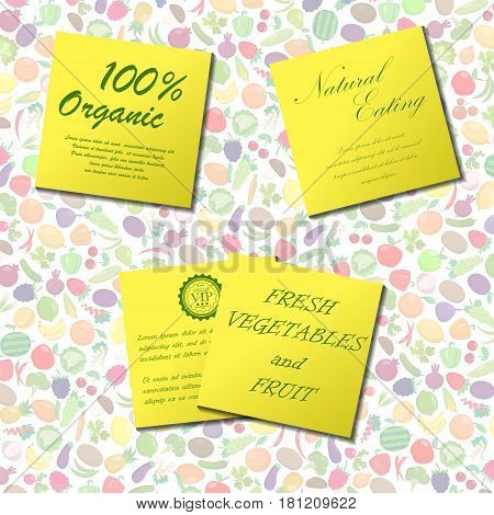 Background with fruit and vegetables and yellow papers with text