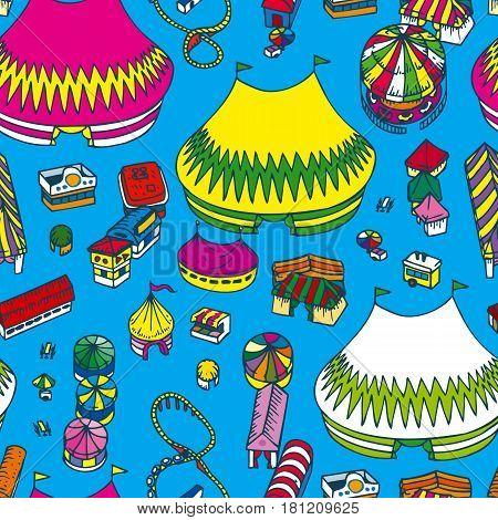 Summer Fair Seamless Pattern on a Blue Background