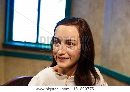 Anne Frank Wax Sculpture In Museum