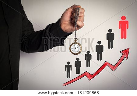 Right partner from many candidates business concept. Red Arrow and Icons Around. Man holding chain clock on white background.