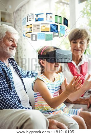 Digital composite of Child wearing VR Virtual Reality Headset with Interface and grandparents