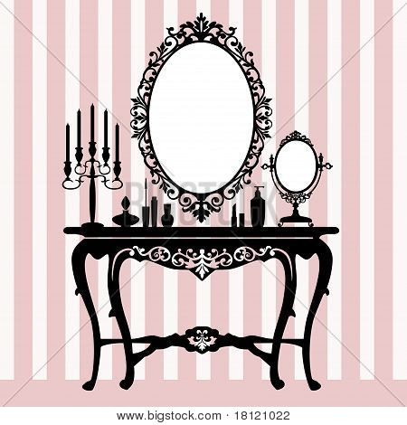Retro dressing console, candelabra and mirror