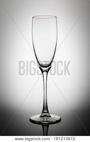 Empty wine glass isolated on a the light gray background. Glassware